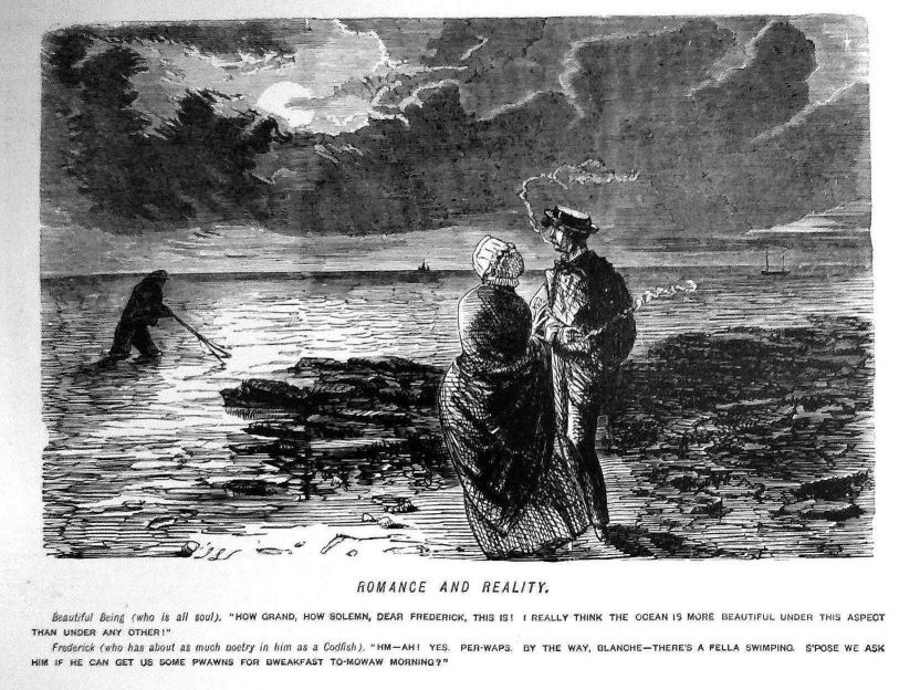 John Leech, Sketch from Punch, %22Reality and Romance,%22 1852